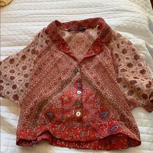 ZARA red multi color blouse